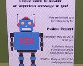 Robot birthday invitations (set of 10)