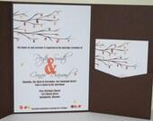 Wedding invitation fall leaves pocketfold  SAMPLE ONLY