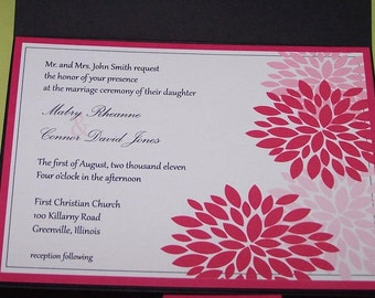 Personalized Pocketfold wedding invitations Pink flowers SAMPLE ONLY