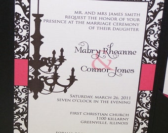 Personalized Pocketfold Wedding invitation Chandelier and damask (SAMPLE ONLY)