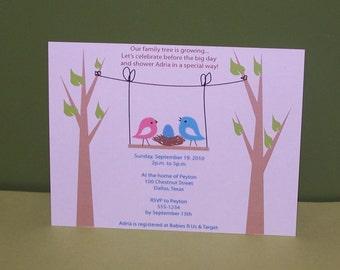 Birds nest baby shower invitation (set of 10)