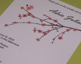 Personalized Baby shower invitations Bird and Cherry Blossom (set of 10)