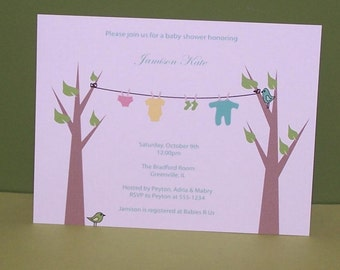Personalized Clothesline Baby Shower invitations (set of 10)