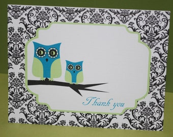 Baby thank you cards, damask owls, baby shower (set of 10)