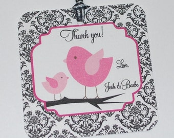 Gift tags, Baby shower personalized tags damask and birds (set of 6)