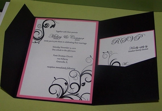 Pink And Black Wedding Invitations: Black And Pink Swirl Pocket Fold Wedding Invitations SAMPLE