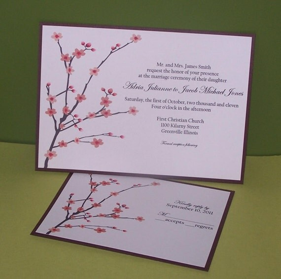 Cherry blossom wedding invitations SAMPLE