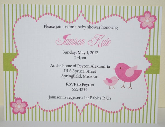 Baby shower invitation, Personalized Beautiful Bird (set of 10)