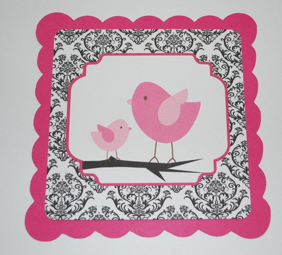 Paper banner, baby shower banner, Its a girl banner, damask and pink birds