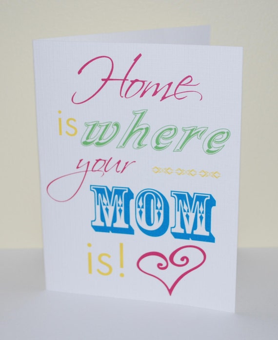 Mothers Day Card Home is where your mom is