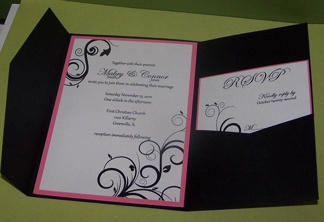 Wedding Invitation Pocket Fold: Wedding Invitation Swirl Invitation Pocketfold SAMPLE ONLY