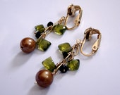 Green and Gold Clip Ons - Can be made into pierced earrings