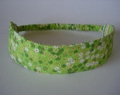 Boutique Fabric Hip Headband...Green Flowers With Stripes (No. 21)