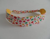 Boutique Fabric Hip Headband...Sample Sale...Fun Dots and Yellow (No. S014)