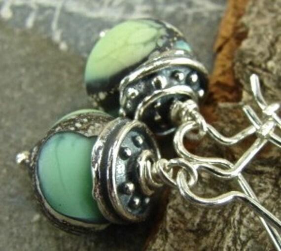 Velvet Waters - Artisan Lampwork Glass And Sterling Silver Earrings