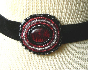 Red Abalone Shell Beaded Choker / Headband / Hair Tie - Adjustable Length - OlyTeam