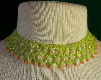 Netted Weave Beaded Choker Lime Green Orange Adjustable Length OlyTeam