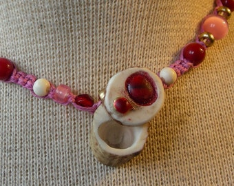 Red Abalone Shell Carved Shed Elk Antler Pill Box Pink Hemp Necklace with Coral Gemstone Beads Adjustable Length Small Size OlyTeam