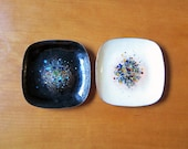 Abstract enamel on copper dishes