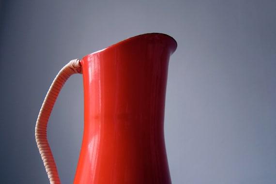 Dansk enamel water pitcher with woven handle