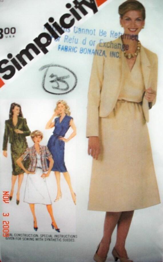 SIMPLICITY 5435 Misses Dress- V Neck, Ext Shoulders. Jacket- Back Funnel Neckline, Notched Turn Back Lapels, Princess Seams. Size 18 20