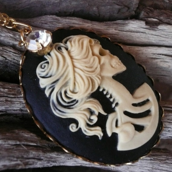 CLEARANCE: Lady Death Cameo Necklace with Vintage Rhinestone Dangle