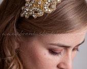 Gold Bridal Headband with Rhinestones, Rhinestone Headband, Gold Wedding Headband - Promise