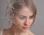 Tulle Wedge Birdcage Veil, Bridal Veil, Wedding veil, White, Diamond White, Ivory, Champagne, Black, More Colors