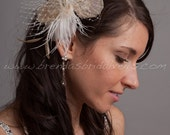 Ivory Feather Birdcage Fascinator, Champagne Peacock Eyes, Oval Pearl and Swarovski Rhinestone Center - Amber