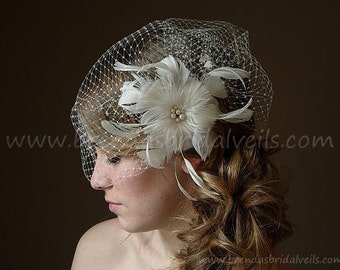 Bridal Veil With Flower, Ivory Full Side Blusher Birdcage Veil, Detachable Ivory Feather Flower with Fresh Water Pearls Center Fascinator