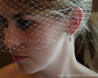 Bridal Birdcage Veil with Double Swarovski Crystal Rhinestone Edge available in White, Diamond White, Ivory, Black