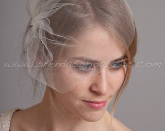 Tulle Wedge Birdcage Veil, Bridal Veil, Wedding veil, White, Diamond White, Ivory, Champagne, Black, More Colors