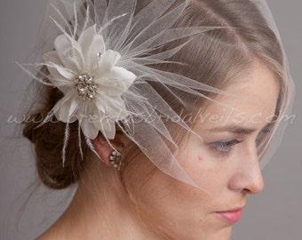 Bridal Birdcage Veil Set, Tulle Wedge Veil with Hand Cut Wild Rose Flower Fascinator, Wedding Veil Set