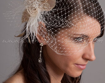 Bridal Veil Set, Ivory Wedge Birdcage Veil with Ivory and Champagne Feather Fascinator Amber