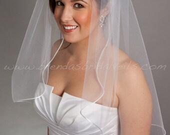"Wedding Veil, Satin Cord Edge Bridal Veil - 25"" Single Layer - White or Ivory"