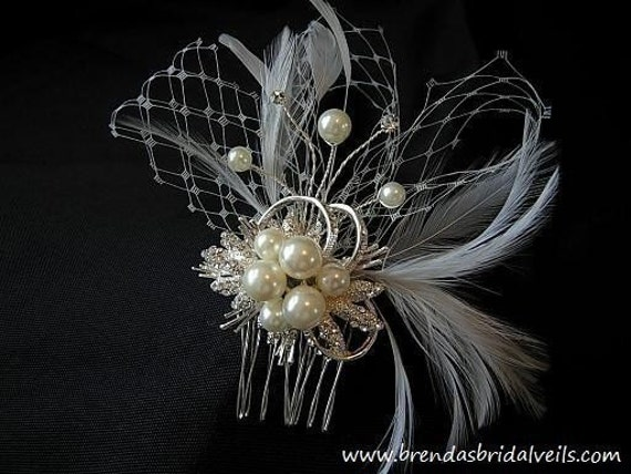 Ivory Pearl and Rhinestone Comb with Feathers, Netting, Floating Pearls and Rhinestones