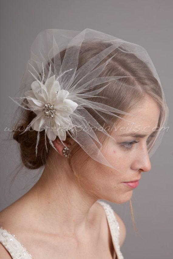 Bridal Birdcage Veil Set Tulle Wedge Veil With Hand Cut Wild