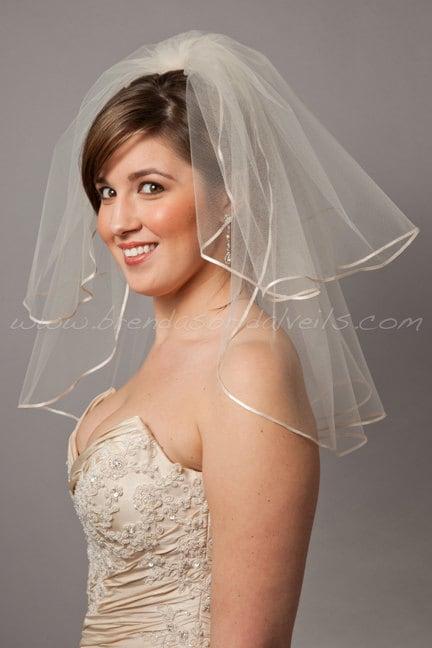 illusion tulle bridal veil short double layer ribbon edge