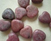 Rhodonite Heart Beads - Dozen