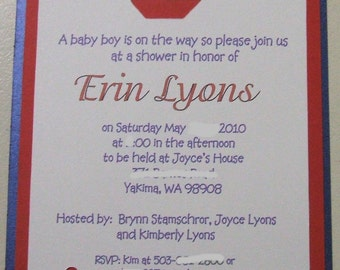 40 Nautical Custom handcrafted Baby shower invites with diecut