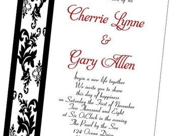 Handcrafted Damask Border wedding invitation set