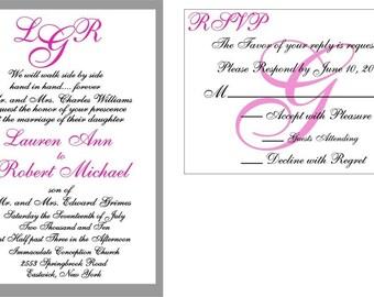 100 Beautiful Handrafted Pink Custom Monogram wedding invitation Suites