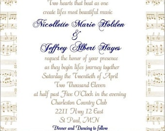 100 custom handcrafted sheetmusic background wedding invitation suites, customizable to fit your style