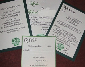 100 Beach themed invitation suites, any color pallette, customizable to your style