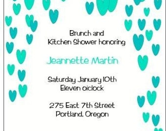 Cool raining hearts bridal shower invite