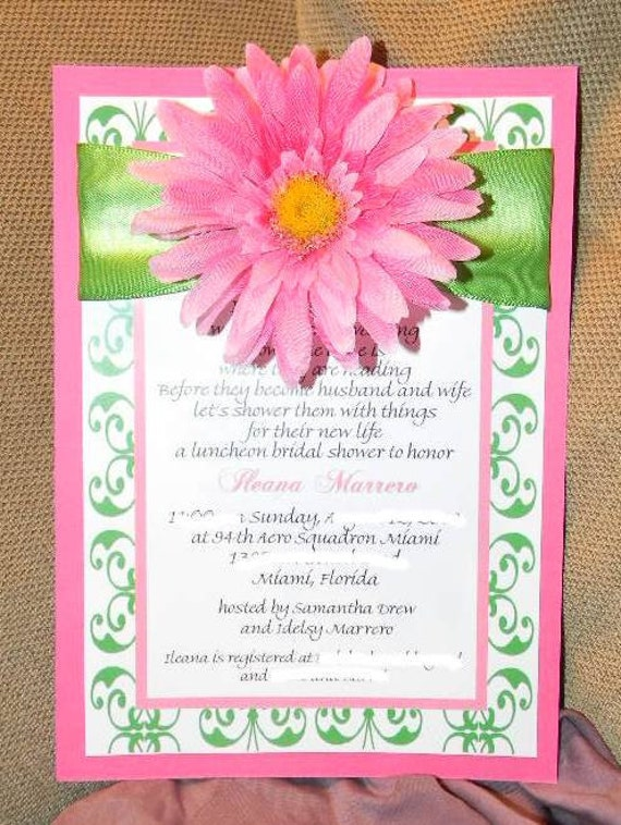 Custom Gerbera daisy bridal shower invite, with ribbon accent pink and green - great for spring or summer set of 50 invites