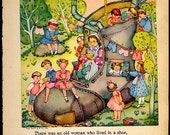 Margot Austin Vintage Nursery Rhyme Original 1944 Art Book There Was An Old Woman That Lived In A Shoe plus Bonus