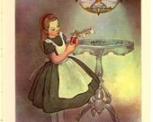 ALICE DRINK ME 1950s Caldecott Honor Artist  Alice in Wonderland Book Print