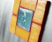 Little Mosaic Magnet with Fused Glass in Yellow and Turquoise