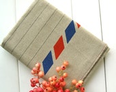 Cotton Linen Fabric - Beige Red Blue French Postal Airmail Stripes Cotton Linen Cloth Fabric 57 x 19 Inches